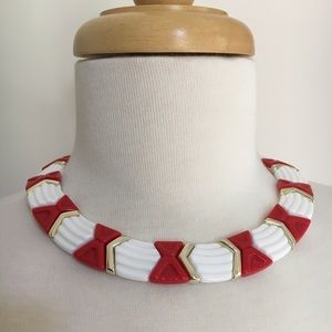 Vintage red white gold geometric plastic necklace